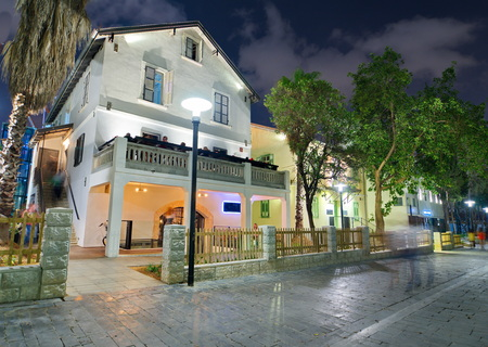 tel: Tel Aviv Night Life - Restored houses at night at the hip Sarona district featuring rich night life and conserved Templer era German architecture from the late 1800s