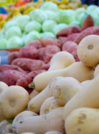 yam israel: Fresh colorful produce in a Tel Aviv fruit and vegetable market: squash, yams, cabbage, and more