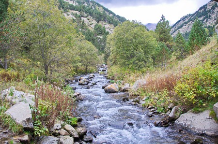The vally of Vall de Nuria in the Pyrenees Mountains in  Catalonia, Spain