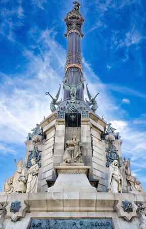 BARCELONA, OCT 16, 2014: The Columbus Monument (Mirador de Colom), a statue by Rafael Atche in Barcelona, Catalonia, Spain