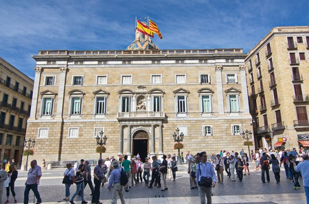 BARCELONA - OCT 16, 2014: The Palau de la Generalitat is a historic palace in Barcelona, Catalonia, Spain. It houses the offices of the Presidency of the government of  Catanonia.