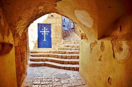 jaffa: Illustration: Painting, digital art: an alley, tunnel, and church door in the old city of Jaffa, Tel Aviv, Israel