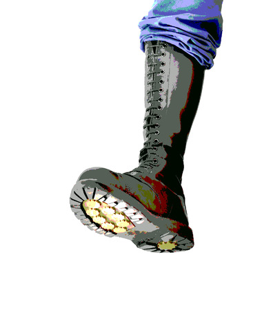 sole: Illustration of a tall lace-up combat boot stomping with the sole visible