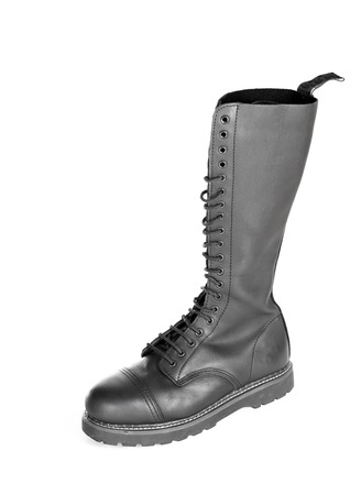 steel toe boots: New tall lace-up knee-high black leather boot featuring 20 eyelets and steel-toes.  Fashion combat work boot worn by both men and women.