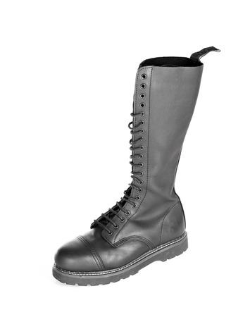 Nuevas botas altas con cordones de caña alta de cuero negro con 20 ojales y acero de los pies. Botas de trabajo de combate Moda usado por hombres y