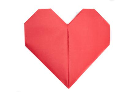 red paper origami heart Standard-Bild