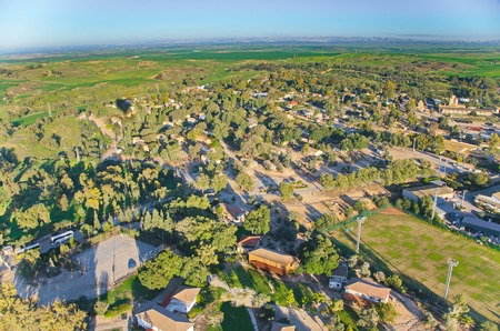 israel agriculture: Ballooning over Israel - birds eye view of a Kibbutz near Tel Aviv after the rain, seen from a hot air balloon
