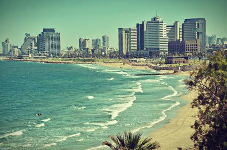 yaffo: The Tel Aviv, Israel sky line and the Mediterranean beach from Jaffa - old postcard  vintage look