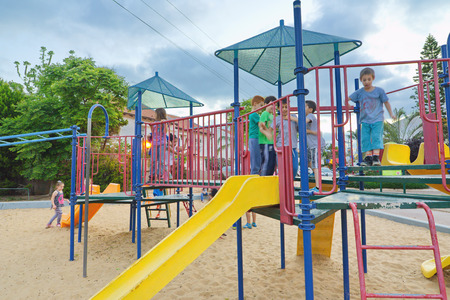 jewish group: TEL AVIV, ISRAEL - MAY 3, 2015: Kids in an evening fun outing in the playground near Tel Aviv, Israel Editorial