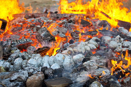 lag: Baked potatoes covered with aluminum foil roasting in a Lag Baomer bonfire with orange flames and firewood in a secular suburb of Tel Aviv, Israel Stock Photo