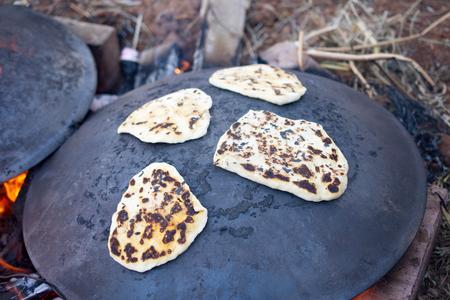 lag: Pita bread baking on a Saj or Tava on Lag Baomer Stock Photo