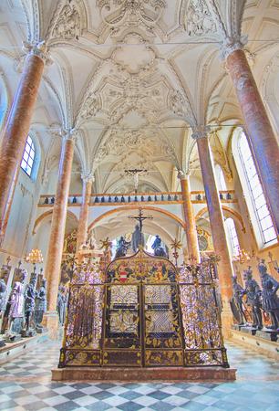 ferdinand: INNSBRUCK, AUSTRIA - APRIL 9, 2015: Inside the Hofkirche (Court Church) - An Ornate Gothic church with tombs of Emperor Maximilian I and Archduke Ferdinand in Innsbruck, Austria Editorial