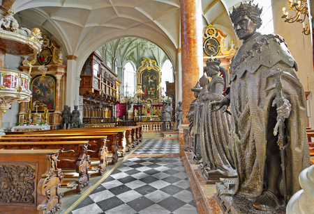 archduke: INNSBRUCK, AUSTRIA - APRIL 9, 2015: Inside the Hofkirche (Court Church) - An Ornate Gothic church with tombs of Emperor Maximilian I and Archduke Ferdinand in Innsbruck, Austria Editorial