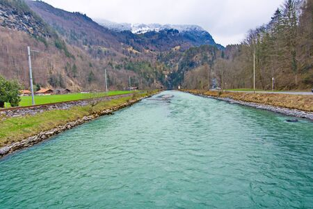 oberland: River Aera at the entrance to Aare Gorge - Aareschlucht near the town of Meiringen, in the Bernese Oberland region of Switzerland.