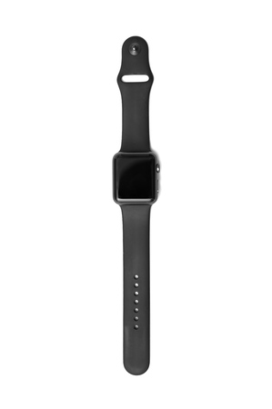 NEW YORK - JULY 9, 2015:  Apple Watch 42mm Space Gray Aluminum Case with Black Sport Band.