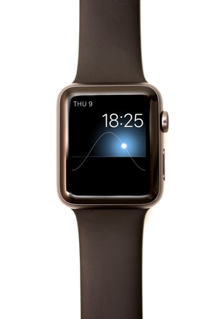 sun screen: NEW YORK - JULY 9, 2015: High resolution image of the Apple Watch screen: The Solar Face with time, date, and the location of the sun.