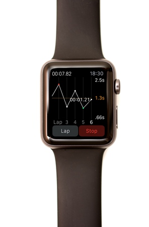 stop watch: NEW YORK - JULY 9, 2015: High resolution image of the Apple Watch screen: The Stop Watch app showing a graph of several laps