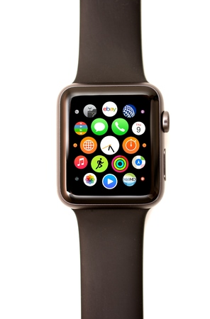 NEW YORK - JULY 9, 2015: High resolution image of the Apple Watch app launcher screen showing the round Watch icons for various apps including stop watch, timer, calendar, email, phone, and more.