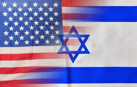 A blended mix of USA and Israel flags signifying the close connection between the nations Standard-Bild