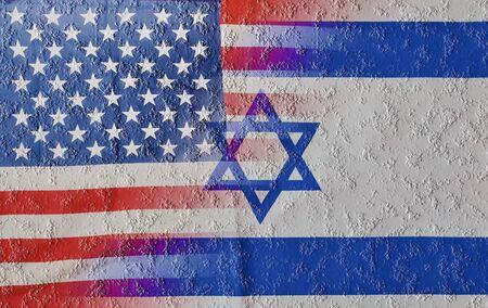 clash: Agrietada mezcla combinada de Estados Unidos e Israel banderas que significa el reciente enfrentamiento y la rivalidad entre las naciones y, concretamente, entre el presidente de los EE.UU. y el Primer Ministro de Israel