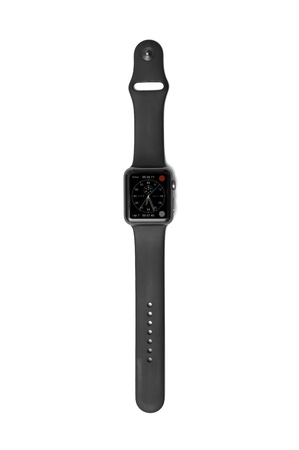 cron�grafo: NEW YORK - JULY 12, 2015: Apple Watch Sport with black band showing the Chronograph Face with time, date, total, and lap measurements. Editorial