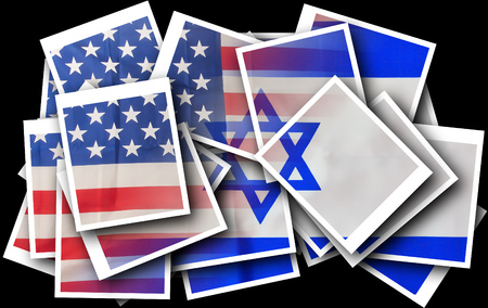 specifically: Broken mix of USA and Israel flags signifying the recent clash and rivalry between the nations and specifically between President of the US and the Prime Minister of Israel