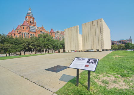 Kennedy: DALLAS, TEXAS - AUG. 27, 2015: The John F. Kennedy Memorial Plaza and the Old Red Museum of Dallas County building in Dallas, Texas