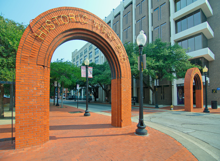 west end: DALLAS, TEXAS - AUG 27, 2015: Historic Dallas West End entrance and signs