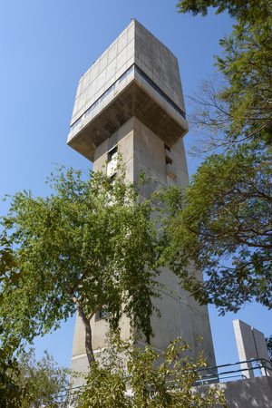 pressurized: A modern water tower in Israel near Tel Aviv, used to provide pressurized water to the Tel Aviv surrounding areas Stock Photo