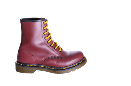 maroon leather: An 8 eyelet 8 inch classic unisex cherry red oxblood lace-up fashion combat boot with yellow laces