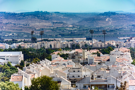 west bank: Birds Eye View of the Shomron Mountains in the West Bank and the suburb of Kfar Saba northeast of Tel Aviv Stock Photo