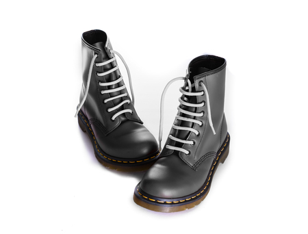 eyelet: A pair of 8 eyelet 8 inch classic unisex black lace-up fashion combat boots with white laces