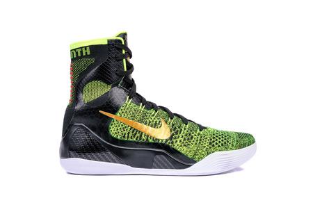 ultra modern: NEW YORK - DEC. 15, 2015: An ultra modern Nike Kobe IX Elite Victory high-top green and black flyknit basketball shoe sneaker, isolated on white Editorial