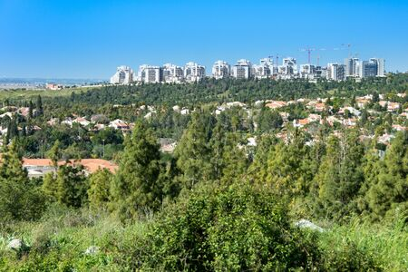 west bank: Birds Eye View of the Shomron Mountains in the West Bank with Israel and the Tel Aviv metropolitan in the back