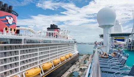 NASSAU, BAHAMAS - OCT 15, 2016: Royal Caribbeans Majesty of the Seas and Disneys Disney Dream ships docked in the Nassau Port on New Providence Island