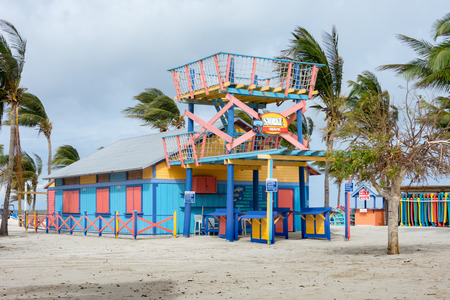 cay: COCO CAY, BAHAMAS - OCT 16, 2016: Colorful Snorkel Shack cabin renting snorkeling and diving equipment on a tropical Bahamas island beach