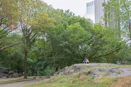 umpire: NEW YORK CITY - OCT. 8, 2016: A couple of people enjoying a quite moment on the famous Umpire Rock in Central Park, New York City Editorial