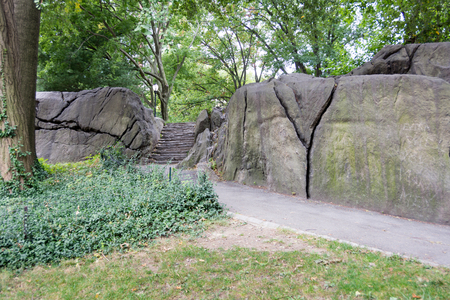 umpire: Typical Umpire Rock at Central Park, New York Stock Photo