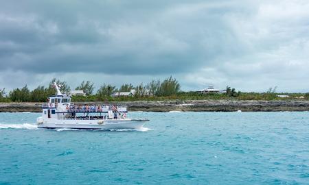 COCO CAY, BAHAMAS - OCT 16, 2016: Royal Caribbeans Ship 2 Shore Boat shuttling tourists to Coco Cay Bahamas private tropical island