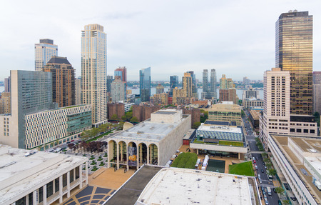 performing arts: NEW YORK CITY - OCT. 8, 2016: Lincoln Center for the Performing Arts from above and the surrounding builds of Hells Kitchen and the Upper West Side