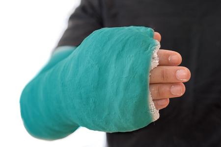 fibra de vidrio: Cerca de un largo brazo cian fundido que cubre el pulgar y una parte de los dedos Foto de archivo