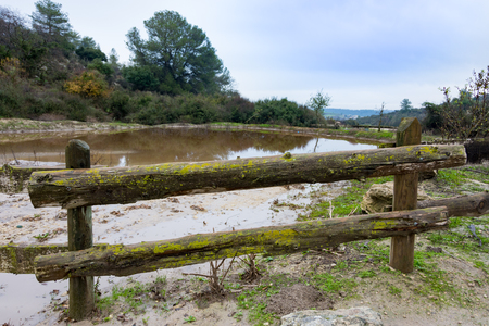 holyland: Wooden fence and  a natural pond in the beautiful green valleys and gently rolling hills of the Carmel and Lower Galilee regions between Zihron Yaakov, Nazareth, and Safed in Israel