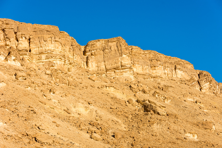 Wind carved rock formations in the Ramon Crater (Makhtesh) in the Southern Israel Negev Desert
