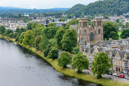 View of Inverness, Scotland, United Kingdom from above featuring St. Andrews Cathedral and the River Ness