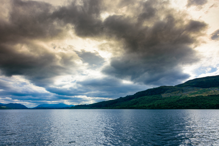 Dramatic sunset over the beautiful Loch Ness, Scotland