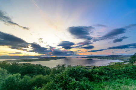 Sunset on Loch Broom in Wester Ross, on the west coast of Scotland and the Atlantic Ocean