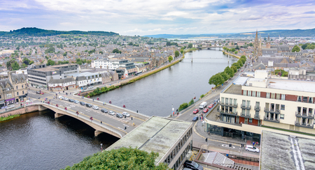 ness river: View of Inverness, Scotland, United Kingdom from above featuring several landmarks and the River Ness.  Taken from the Inverness Castle tower.