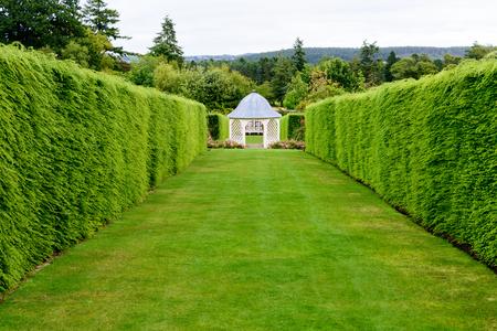 Gardens of the historic Drum Castle in Northern Scotland near Aberdeen