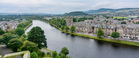 ness river: INVERNESS, SCOTLAND - AUG 22, 2017: View of Inverness, Scotland, United Kingdom from above featuring several landmarks and the River Ness.  Taken from the Inverness Castle tower.