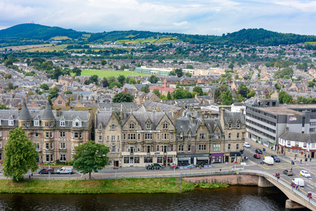 INVERNESS, SCOTLAND - AUG 22, 2017: View of Inverness, Scotland, United Kingdom from above featuring several landmarks and the River Ness.  Taken from the Inverness Castle tower.